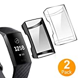 Tensea Compatible with Fitbit Charge 3 Screen Protector, [2 Packs] Soft TPU Bumper Full Around Case Cover Protector for Fitbit Charge 3 and Fitbit Charge 3 SE (Black + Clear)
