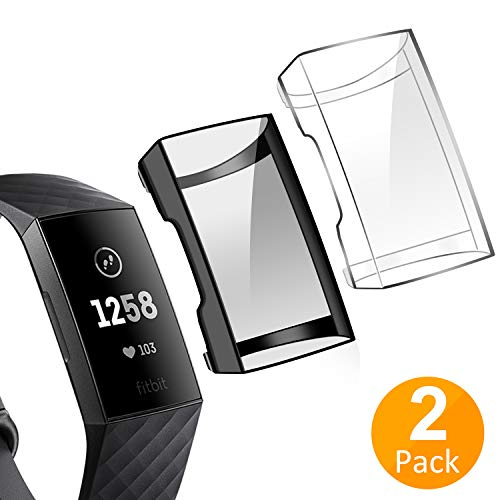 Tensea Compatible with Fitbit Charge 3 Screen Protector, 2 Packs Soft TPU Bumper Full Around Case Cover Protector for Fitbit Charge 3 and Fitbit Charge 3 SE (Black and Clear)