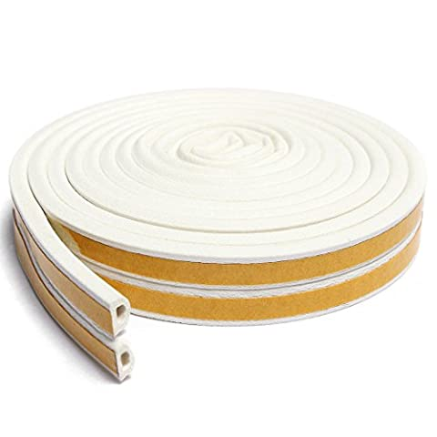 STRIPZER - Self-adhesive EPDM Doors and Windows Draught Excluder Foam Seal Strip Soundproofing Collision Avoidance Rubber Weatherstrip (D type 5m(16.4 feet), White Color)