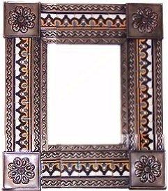Fine Crafts Imports Small Brown Milan Tile Talavera Tin Mirror