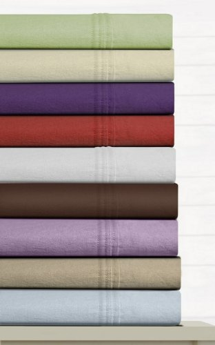 Cashmere Flannel (Luxury Solid Cotton Deep Pocket Flannel Sheet Set Size: Queen, Color: Cashmere)