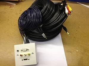 Euronetwork - Caja para Montaje en Pared para conexión de proyector (con Conexiones SVGA, HDMI y 3 x RCA de 3,5 mm de Color Rojo, Blanco y Amarillo, con Cable de 5