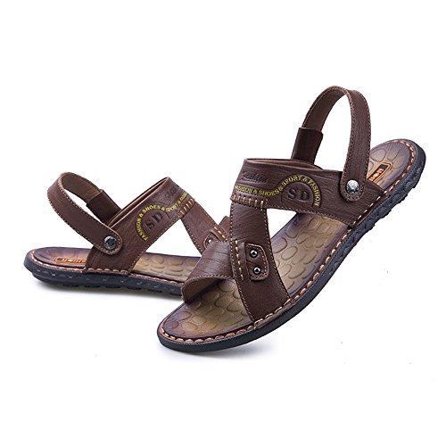 Marrone regolabili Marrone Sandali da spiaggia antiscivolo 39 piatti Color sandali in Pantofole Dimensione da EU vera Casual pelle schienale uomo BINODA morbidi senza Uw6qq