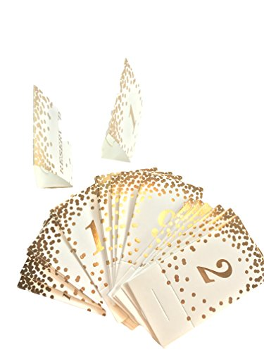 Gold Foil Table Numbers 1-20, Plus 4 Reserved Confetti Gold on White Cardstock, Tent, Wedding, Reception, Table top Decor, Paper Products, Party Paper Supplies, Formal Dinner, Special Event, Gala]()