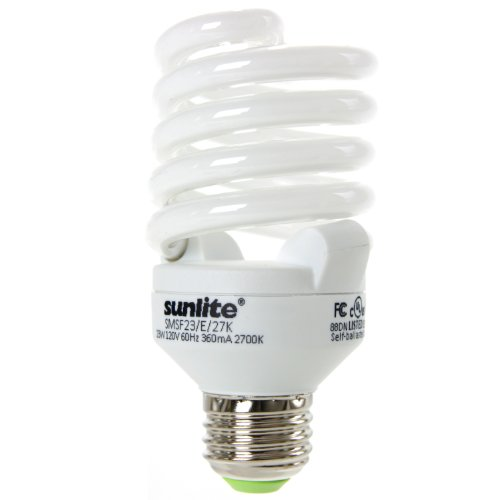 Sunlite SMS23F/E/65K/CD 23 Watt Super Mini Spiral Energy Star Certified CFL Light Bulb Medium Base Daylight ()