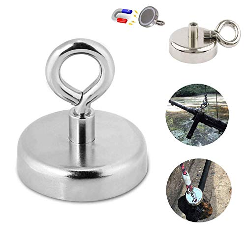 MQUPIN Magnetic Hooks Neodymium Recovery Hold Strong Heavy Duty Super Powerful Magnet Hanger with Eyebolt, 150LBS/68KG, D1.65 inch(42 mm) for Sea Salvage Diving Lake Fishing (392lbs Magnetic Hooks) by MQUPIN (Image #9)