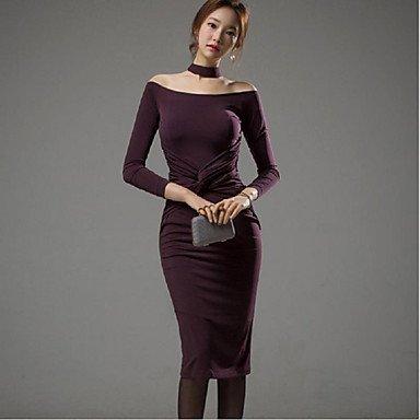PU&PU Robe Aux femmes Gaine Simple,Couleur Pleine Col Arrondi Mi-long Polyester / Nylon , purple , m
