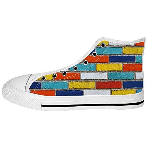 Texture De Mur De Brique Personnalisé Womens Canvas Shoes Les Lacets Chaussures Baskets Montantes