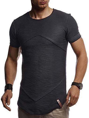 Leif Nelson Herren Sommer T-Shirt Rundhals Ausschnitt Slim Fit Baumwolle-Anteil Cooles weißes schwarzes Basic Männer T-Shirt Crew Neck Jungen Kurzarmshirt O-Neck Kurzarm Sleeve Top Lang LN8281