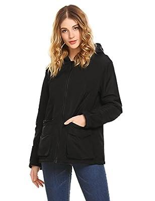 sholdnut Womens Hooded Coat Long Sleeve Windbreaker Waterproof Zip Up Thick Jacket
