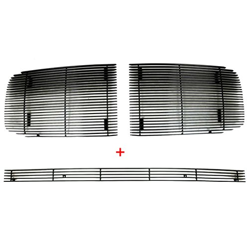 EAG Black 4mm Horizontal Billet Grille Combo Replacement for 06-08 Dodge Ram 1500/06-09 2500/3500
