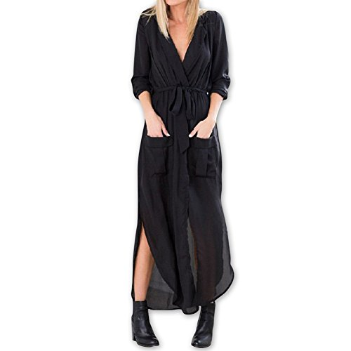 Black Tunic Neck Shirt Sleeves Dress 123 Chiffon Sexy Blouse Belt SYGoodBUY Sexy Women's Long with Dress Women's V SZxgxqAwnT