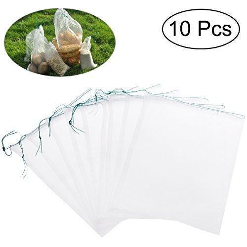 UEETEK UEETEK 10pcs 2535cm Drawstring Nylon Mesh Filter Media Bag for Aquarium Garden Pond