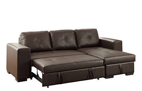 (Poundex Bobkona Nathan Faux Leather SECTIONAL with Pull-Out Bed & Compartment in Espresso)