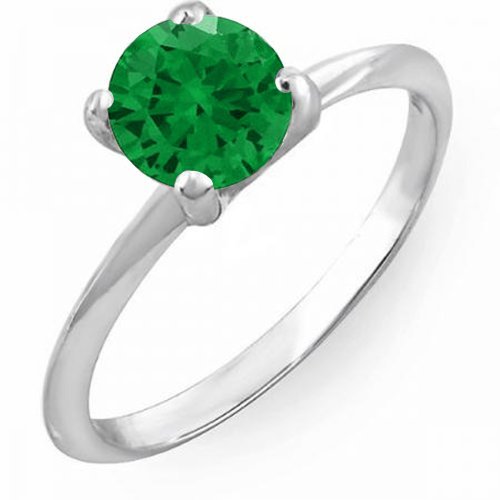 1.00 Carat (ctw) 14K White Gold Round Green Emerald Bridal Engagement Solitaire Ring 1 CT (Size 6)