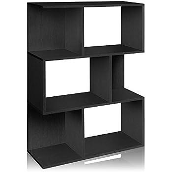 Way Basics Eco Madison Bookcase, Room Divider and Storage Shelf, Black  (made from