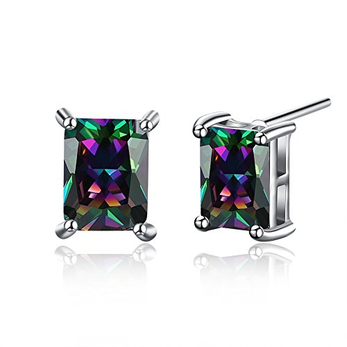 18K White Gold Plated Multicolor Black Cubic Zirconia Stud Earrings for Women Teen Girls Jewelry (G)