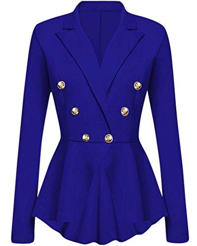 Women's Ruffles Peplum Long Sleeve Work Business Blazer Coat, Blue, Tag L = US (4-6)