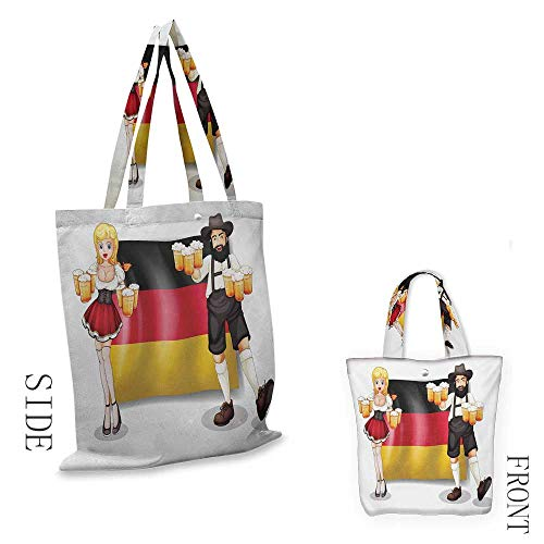 GermanCraft canvas shopping bagGerman Flag with Man and Woman in Traditional Clothes European Culture IllustrationCan also be loaded with a laptop W15.75 x L17.71 Inch Multicolor (Family Bag Shopping Partridge)