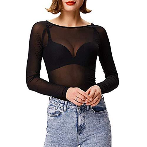 Kanyankeji Women's Mesh Top Outfits Basic Long Sleeves Club Mesh See Through Tee Shirts Cool Party Sheer Tops ()