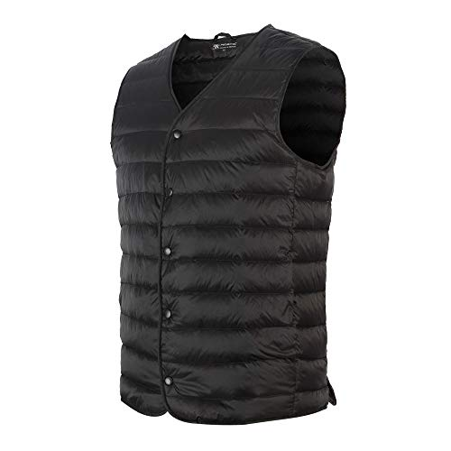 Promore Mens Winter Ultra Light Down Warm Waistcoat Packable Puffer Vest with Carry Pouch (Black, S)