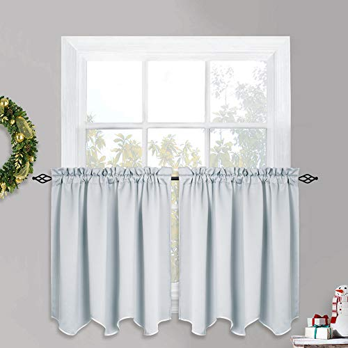 PONY DANCE 36 inch Curtain Valances - Window Drapes Kitchen Tiers Tailored Scalloped Valances Short Panels, 52