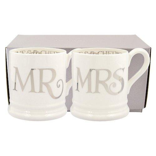 EMMA BRIDGEWATER POTTERY NEW HALF PINT MUGS - Boxed Set - Silver Toast Mr & Mrs - Emma Bridgewater Factory