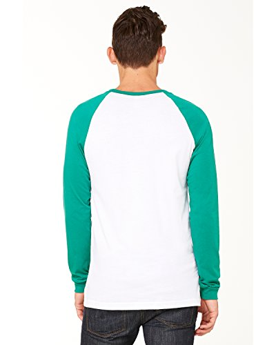 Bella + Canvas Mens Jersey Long-Sleeve Baseball T-Shirt - WHITE/ KELLY - L - (Style # 3000C - Original Label) (Baseball Belle Jersey)