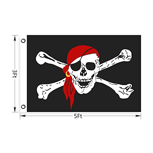 Dreamlevel Pirate Flag, Jolly Roger with Red Scarf 3 'x 5