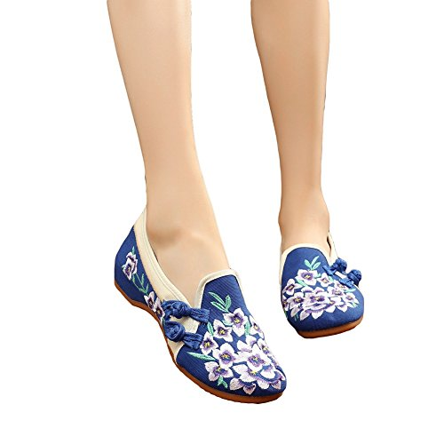 Cloth Flat Shoes (HADM Womens Peachblossom Cotton Embroidered Flat Rubber Sole Casual Dancing Mary Jane Shoes)