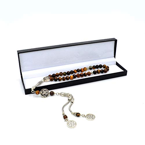 ALBATROSART Design -Tiger Eye Stone Series Worry Beads - Prayer Beads (8 mm-33 Beads) Tesbih-Tasbih-Tasbeeh-Misbaha-Masbaha-Subha-Sebha-Sibha-Rosary (Special Long Tassel 8mm 99 -
