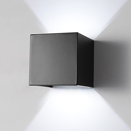 LED Aluminum Waterproof Wall Lamp ,12W 85-225V 6000K Adjustable Outdoor Wall Light White Light 2 LEDS (Black-white (4 Light Outdoor Sconce)