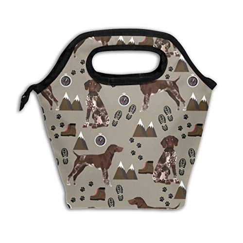 German Shorthaired Pointer Dog Dogs And Hiking Dog Mountains - Med Brown_884 Lunch Bag Insulated Lunch Box Reusable Lunch Tote Cooler Organizer Bag Lunch Bags for Women,Men and Kids Adults