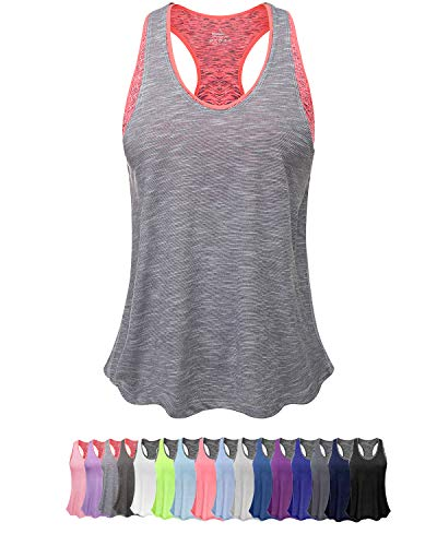 (Women Tank Top with Built in Bra, Lightweight Yoga Camisole for Workout Gym Fitness (S, Light Gray&Pink Bra))