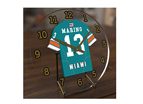 FanPlastic DAN Marino 13 Miami Dolphins Desktop Clock - National Football League Legends Edition !! 13 Dan Marino Jersey