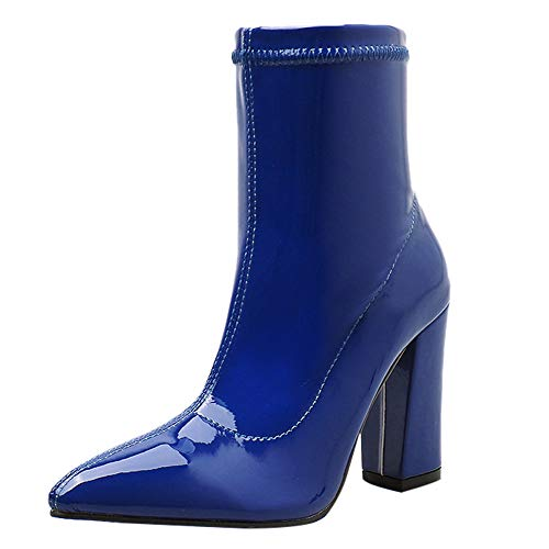 Seaintheson High Heel Ankle Boots for Women, Women's Fashion Thick Heel Shoes Leather Pointed-Toe Middle Tube Patent Booties Blue