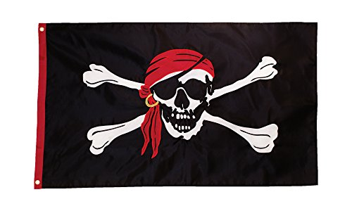 [In the Breeze I'm a Jolly Roger Applique Grommet Flag, 3 by 5-Feet] (Applique College Flag Banner)