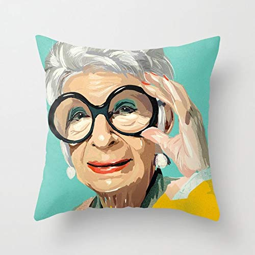 (Square Throw Pillow Case Cover Cotton, Decorative Pillow Cover Cushion Cover for Home Sofa Car, 18x18 Inch - Iris Apfel Tw)