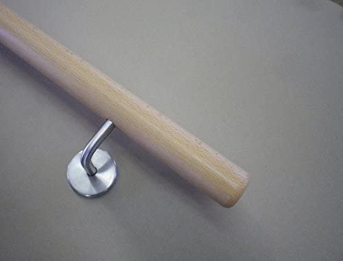 Halter /Ø42mm in verschiedenen L/ängen Eiche Handlauf mit Radius u 140cm 3 Edelstahl-Halter
