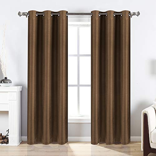 Valea Home Blackout Curtains Grommet Faux Silk Satin Room Darkening Curtain Drapes for Bedroom, 38 x 84 inches, 2 Panel, Brown (Silk Brown Curtains)