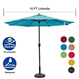 Sundale Outdoor 10FT Market Umbrella Table Umbrella with Crank and Auto Tilt, Aluminum Ribs, Polyester Canopy Shade for Patio, Garden, Deck, Backyard, Pool, Turquoise