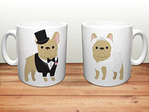 French Bulldog Coffee Mugs, Wedding Frenchies Ceramic Mugs, French Bulldog Lover Wedding Gift, Frenchie Mugs, Set of 2 Mugs, 11oz, 15oz, gift