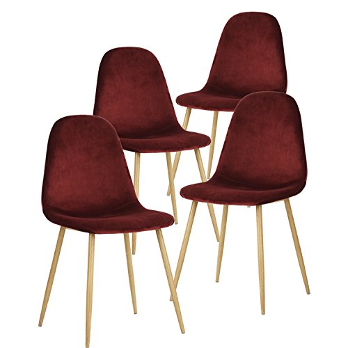 "41uR9FulD0L - 35% Off"" GreenForest Dining Chairs for Kitchen,Elegant Velvet Back and Cushion, Mid Century Modern Side Chairs Set of 4,Bordeaux"