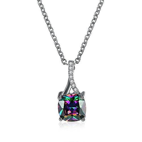 Necklace pendants Rainbow Mystic Topaz Platinum Plated pendants for womens - Mystic Platinum Topaz