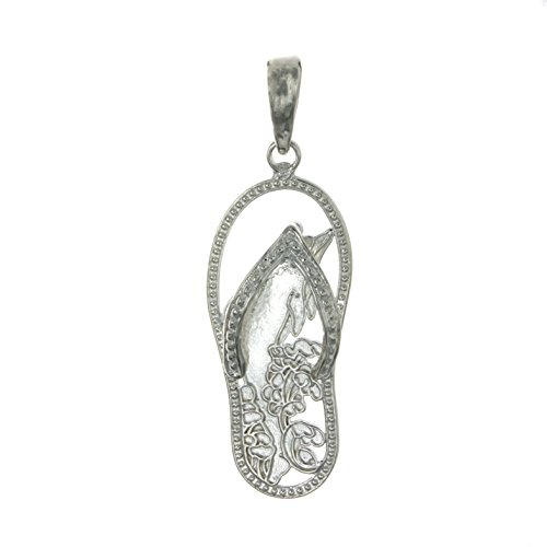 Sterling Silver Flip Flop Charm - 925 Sterling Silver Nautical Charm Pendant, Dolphin Flip-Flop [Cut-Out]