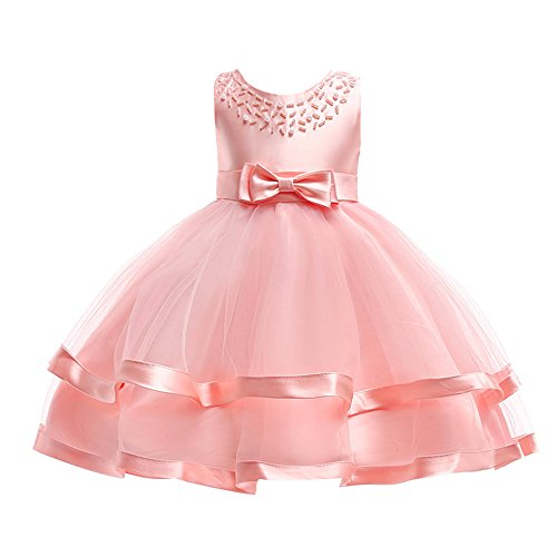 Kids Toddler Baby Girls Dresses,Sleeveless Solid Lace Bowknot Princess Party Formal Clothes 3-7 Years (Size:3T, Pink) ()