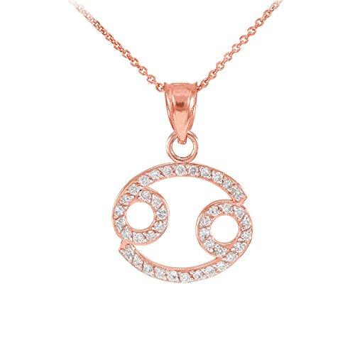 Collier Femme Pendentif 14 Ct Or Rose Cancer Zodiaque Signe Diamant (Livré avec une 45cm Chaîne)