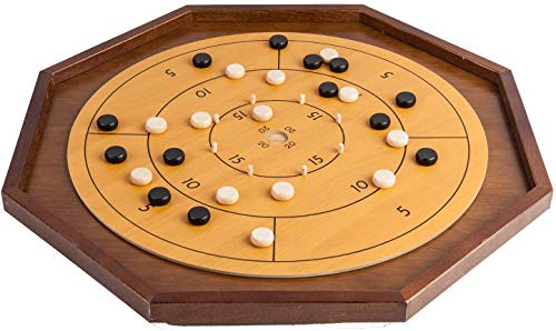 """Tournament Crokinole & Checkers, 27"""" Classic Board Game Canadian Heritage Family Tabletop Game with 22"""" Playing Surface for Friend and Kids Family Fun (Includes 26 Black and White Discs)"""