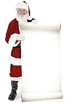 STAR CUTOUTS SC16 Official Lifesize Christmas Decoration Santa with Large Sign Perfect for Grottos and Festive Displays Including Shops Height 180cm Star Cutouts Ltd