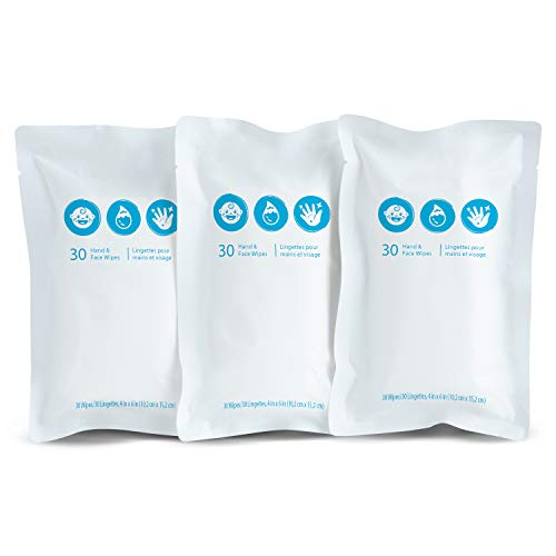 Brica Clean-To-Go Unscented Hand & Face Baby Wipes, 99% Water Wipes with Chamomile & Aloe, 3 rolls of 30 wipes (total 90…